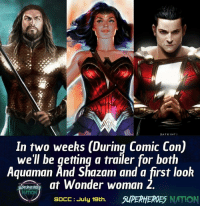 Batman, Memes, and News: DATRINTI  In two weeks (During Comic Con)  we'll be getting a trailer for both  Aquaman And Shazam and a first look  at Wonder woman 2  NATION  SDCC: July 19th.  SUPERHEROES NATION Who's excited for Comic Con ? And as usual I'll be doing a full Coverage for the event, News , panles and everything .. the only difference this year it's gonna be bigger and better .. because I'm Covering Both Marvel and DC.. Stay Tuned. Blackpanther Mcu Marvel dc dccomics dceu dcu dcrebirth dcnation dcextendeduniverse batman superman manofsteel thedarkknight wonderwoman justiceleague cyborg aquaman martianmanhunter greenlantern venom spiderman infinitywar avengers avengersinfintywar ironman tha