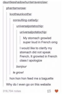 Louding: dauntlesshadowhunterravenclaw:  phantamxrose:  kvotheunkvothe:  consulting-catlady:  universalpotatochip:  universalpotatochip:  My stomach growled  super loud in French omg  I would like to clarify my  stomach did not speak  French. It growled in French  class I apologize  bonjour  le growl  hon hon hon feed me a baguette  Why do I even go on this website  316,704 notes  -閘
