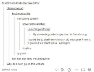 J'ai faim.omg-humor.tumblr.com: dauntlesshadowhunterravenclaw:  phantamxrose:  kvotheunkvothe:  consulting-catlady:  universalpotatochip:  universalpotatochip:  My stomach growled super loud in French omg  I would like to clarify my stomach did not speak French.  It growled in French class I apologize  bonjour  le growl  hon hon hon feed me a baguette  Why do I even go on this website  269,064 notes J'ai faim.omg-humor.tumblr.com