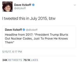 """Tumblr, Blog, and Train: Dave Itzkoff  @ditzkoff  I tweeted this in July 2015, btw  Dave ltzkoff @ditzkoff  Headline from 2017: """"President Trump Blurts  Out Nuclear Codes, Just To Prove He Knows  Them""""  5/15/17, 6:17 PM  34K RETWEETS 79.1K LIKES twitterlols:  this man… is… a train wreck"""