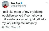 Fall, MeIRL, and King: Dave King *  @DaveKingThing  i feel like most of my problems  would be solved if somehow a  million dollars would just fall into  my lap, killing me instantly  4:01 PM 23 Aug 18 meirl