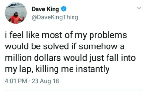 meirl by standingfierce MORE MEMES: Dave King *  @DaveKingThing  i feel like most of my problems  would be solved if somehow a  million dollars would just fall into  my lap, killing me instantly  4:01 PM 23 Aug 18 meirl by standingfierce MORE MEMES