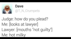 "plead: Dave  @T N_Crumpets  Judge: how do you plead?  Me: [looks at lawyerl  Lawyer: [mouths ""not guilty'""]  Me:hot milky"
