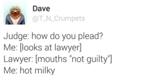 "me irl: Dave  @T N.Crumpets  Judge: how do you plead?  Me: [ooks at lawyer]  Lawyer: [mouths ""not guilty  Me: hot milky me irl"