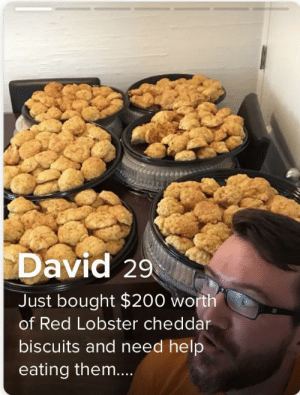 Am I doing this right?: David 29  Just bought $200 worth  of Red Lobster cheddar  biscuits and need help  eating them.... Am I doing this right?