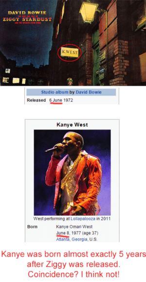 Ziggy Stardust was predicting Kanye Westhttp://omg-humor.tumblr.com: DAVID B OWIE  ZIGGY STARDUST  AD THE SPDERS FRO IRS  K.WEST  Studio album by David Bowie  Released 6 June 1972  Kanye West  West performing at Lollapalooza in 2011  Born  Kanye Omari West  June 8, 1977 (age 37)  Atlanta, Georgia, U.S.  Kanye was born almost exactly 5 years  after Ziggy was released.  Coincidence? I think not! Ziggy Stardust was predicting Kanye Westhttp://omg-humor.tumblr.com