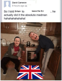 David Cameron, Britain, and Madmen: David Cameron  9 hours ago  leave the EU  So I told Britain to  actually did it the absolute madman  hahahahahahaha! <p>The absolute bloody madmen</p>