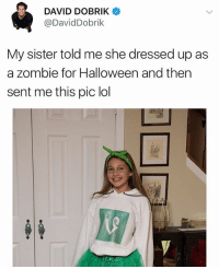 Anime, Halloween, and Lol: DAVID DOBRIK  @DavidDobrik  My sister told me she dressed up as  a zombie for Halloween and then  sent me this pic lol I miss vine and my sad anime videos 😤