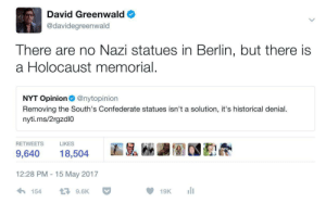 antifainternational:Context.: David Greenwald  @davidegreenwald  There are no Nazi statues in Berlin, but there is  a Holocaust memorial.  NYT Opinion@nytopinion  Removing the South's Confederate statues isn't a solution, it's historical denial.  nyti.ms/2rgzdl0  RETWEETS  LIKES  9,640 18,504  12:28 PM -15 May 2017  154  다 9.6K antifainternational:Context.