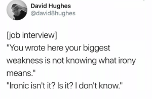 "Funniest Memes: David Hughes  @david8hughes  job interview]  ""You wrote here your biggest  weakness is not knowing what irony  means.""  ""Ironic isn't it? Is it? I don't know."" Funniest Memes"