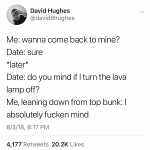 Date, Dank Memes, and Mind: David Hughes  @david8hughes  Me: wanna come back to mine?  Date: sure  *later*  Date: do you mind if l turn the lava  lamp off?  Me, leaning down from top bunk: l  absolutely fucken mind  8/3/18, 8:17 PM  4,177 Retweets 20.2K Likes @david8hughes