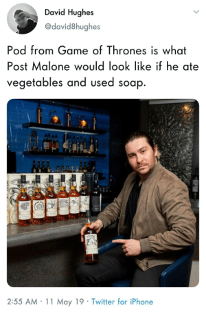 Game of Thrones, Iphone, and Post Malone: David Hughes  @david8hughes  Pod from Game of Thrones is what  Post Malone would look like if he ate  OS  vegetables and used soap  2:55 AM 11 May 19 Twitter for iPhone I would listen to his podcast