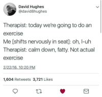 meirl: David Hughes  @david8hughes  Therapist: today we're going to do an  exercise  Me [shifts nervously in seat]: oh, I-uh  Therapist: calm down, fatty. Not actual  exercise  2/22/16,10:20 PM  1,604 Retweets 3,721 Likes  10 meirl