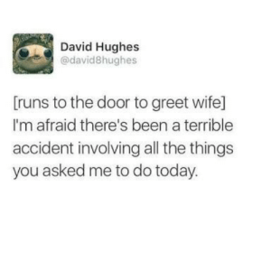 meirl by weeb55487 FOLLOW HERE 4 MORE MEMES.: David Hughes  @david8hughes  Truns to the door to greet wife]  I'm afraid there's been a terrible  accident involving all the things  you asked me to do today. meirl by weeb55487 FOLLOW HERE 4 MORE MEMES.