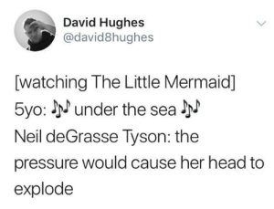Head, Pressure, and The Little Mermaid: David Hughes  @david8hughes  [watching The Little Mermaid]  5yo: under the sea  Neil deGrasse lyson: the  pressure would cause her head to  explode Uninvited from movie night