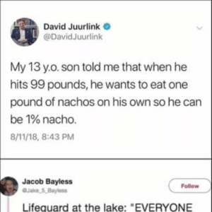 "Found on iFunny: David Juurlink  @DavidJuurlink  My 13 y.o. son told me that when he  hits 99 pounds, he wants to eat one  pound of nachos on his own so he can  be 1% nacho.  8/11/18, 8:43 PM  Jacob Bayless  Jake 5,Bayless  Follow  Lifequard at the lake: ""EVERYONE Found on iFunny"