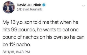 Hard relate. via /r/memes http://bit.ly/2DRIlFv: David Juurlink  @DavidJuurlink  My 13 yo. son told me that when he  hits 99 pounds, he wants to eat one  pound of nachos on his own so he can  be 1% nacho.  8/11/18, 8:43 PM Hard relate. via /r/memes http://bit.ly/2DRIlFv