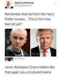 malfoy: David Letterman  Remember that kid from the Harry  Potter movies... This is him now,  feel old yet?  never disrespect Draco Malfoy like  that again you uncultured swine