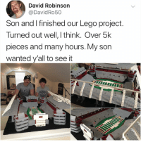 Lego, Memes, and Hell: David Robinson  @DavidRo50  Son and I finished our Lego project  Turned out well, I think. Over 5k  pieces and many hours. My son  wanted y'all to see it Y the hell arent u following @kalesaladsports yet
