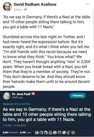 """Friends, Break, and Germany: David Rodham Avallone  4 hrs .  As we say in Germany, if there's a Nazi at the table  and T0 other people sitting there talking to him,  you got a table with 11 Nazis  Stumbled across this last night on Iwitter, and l  had never heard the expression before. But it's  exactly right, and it's what I think when you tell me  """"I'm still friends with this racist because we need  to know what they think."""" You know what? We  don't. They haven't thought anything """"new"""" in 2,000  years. When you break bread with a Nazı, you tell  them that they're a member of society. They're not.  They dont deserve to be. And they should know  their hatreds make them unfit to be around decent  people  Dr. Jens Foell  @IMRI_guy  Following  Replying to TrancewithMe  As we say in Germany, if there's a Nazi at the  table and 10 other people sitting there talking  to him, you got a table with 11 Nazis  7:18 PM 13 Feb 2018  2,004 Retweets 5,180 Likes"""