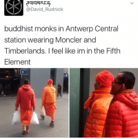 """Kendall Jenner, Memes, and The Fifth Element: David Rudnick  buddhist monks in Antwerp Central  station wearing Moncler and  Timberlands. I feel like im in the Fifth  Element """"I follow @kalesalad and u should too"""" - Kendall Jenner and Jesus"""
