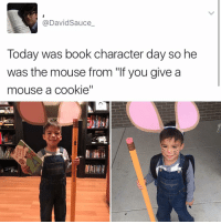 """Bad Day, Cookies, and Memes: David Sauce  Today was book character day so he  was the mouse from """"If you give a  mouse a cookie"""" If you are having a bad day (or a good one)"""