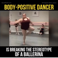 Dancing, Memes, and Wolf: David Wolfe.com  Olnstagram @lizzy dance  BODY-POSITIVE DANCER  IS BREAKING THE STEREOTYPE  OF A BALLERINA Rp @star_light_photos BeYou 💪💪💪💪 inspiring dance pererverence LizzyHowell 4biddenknowledge