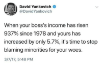 True: David Yankovich  @DavidYankovich  When your boss's income has risen  937% since 1978 and yours has  increased by only 5.7%, it's time to stop  blaming minorities for your woes.  3/7/17, 5:48 PM True