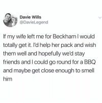 Friends, Funny, and God: Davie Wills  @DavieLegend  If my wife left me for Beckham l would  totally get it. l'd help her pack and wish  them well and hopefully we'd stay  friends and I could go round for a BBQ  and maybe get close enough to smell  him 😭😭😭🙌🏻 @davidbeckham is a god @thefunnyintrovert 🙌🏻