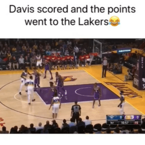 Basketball, Los Angeles Lakers, and Nba: Davis scored and the points  went to the Lakers Tampering 😂 Via @BallGod