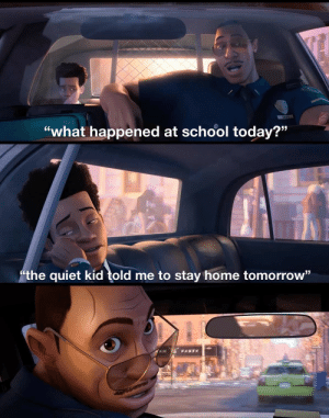 "*pumped up kicks intensifies* via /r/memes https://ift.tt/2WhdH0d: DAVIS  ""what happened at school today?""  the quiet kid told me to stay home tomorrow"" *pumped up kicks intensifies* via /r/memes https://ift.tt/2WhdH0d"