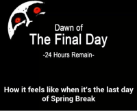 When it's the last day of Spring Break.  ThatJutzeGuy: Dawn of  The Final Day  -24 Hours Remain-  How it feels like when it's the last day  of Spring Break When it's the last day of Spring Break.  ThatJutzeGuy