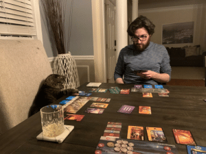 Day 10 of quarantine. The cat continues to kick our asses at board games 😼: Day 10 of quarantine. The cat continues to kick our asses at board games 😼