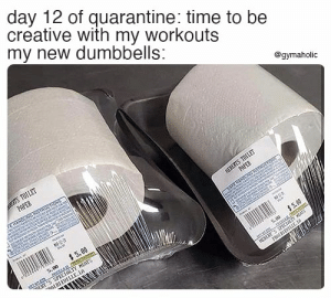 Day 12 of quarantine: time to creative with my workouts. My new dumbbells.  Gymaholic App: https://www.gymaholic.co  #fitness #motivation #gymaholic #meme #workout: Day 12 of quarantine: time to creative with my workouts. My new dumbbells.  Gymaholic App: https://www.gymaholic.co  #fitness #motivation #gymaholic #meme #workout