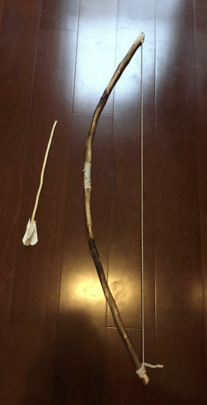 Day 23 of quarantine. I made a bow and arrow from scratch it took a few hours but it was worth it.: Day 23 of quarantine. I made a bow and arrow from scratch it took a few hours but it was worth it.