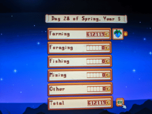 Definitely, Happy, and Spring: Day 28 of Spring, Year 5  Farming  Foroging  Fishing  Mining  Other  Total  612119G  0G  0G  612119G O One harvest of ancient fruit only 7 more for they year (8 harvest a year pretty happy with it more then i need anyway but definitely doing to go for more
