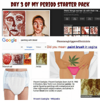 """**cw blood, period & body talk** 🌈in honor of my regular cycle, we are gonna do some unpacking of menstrual-phobia (or menophobia I guess) it's commonly understood that nobody ~wants~ their period and that it's generally a bummer to get it. can I just say what the fuck??? I have experienced lots of menstrual disorder including painful and irregular periods (not to mention a deformed uterus) and I have of course hated it in my own life at times. Hated that if I didn't have a uterus my life would be so simple. I would't have to take unnecessary medication, buy unnecessary products or be vilified when I became more emotionally & physically sensitive. I felt out of control and crazy. It was sad. And I'm not preaching because I understand everyone has their own journey and sometimes when a part of our body is disordered or diagnosed (endometriosis, PCOS, dysmenorrhea, body dysmorphia just to name a few) it's hard not to feel threatened by, ashamed of or hateful toward that body part. But as someone who's gone through surgeries, medications and years of being misdiagnosed before finally becoming passionate about my own reproductive health, I now see my bleeding time as a part of me just like any other that deserves respect and celebration. Now, I'm not promoting gender essentialism or equating menstruation with gender, but anyone who menstruates might find it really a huge relief to try to celebrate it. I'm gonna get woowoo here and say that's the way things were since the first menstruation- celebrated and respected. And I know this is sometimes thrown away as a non-issue in feminism, so why is it that the only prominent & celebrated artists using blood as paint I found were cis men?? and that the only result I found for women painting in their own menstrual blood was """"weird things women do with their period blood???"""" 🤔🤔I see comments from my peers, even feminists ones, shaming themselves for bleeding. It is not a small issue, it's integral to self-acceptance which is in"""