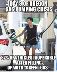 Memes, Oregon, and 🤖: DAY 30F OREGON  GASPUMPING CRISIS  37%OF VEHICLES INOPERABLE  AFTER FILLING  UPWITH GREEN' GAS.  mgflip.com