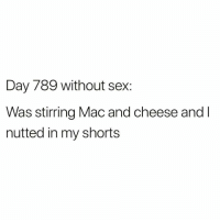 Memes, Sex, and 🤖: Day 789 without sex:  Was stirring Mac and cheese and l  nutted in my shorts