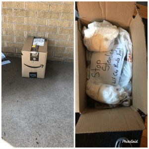 Days worth of dirty diapers for whoever keeps stealing packages off our porch: Days worth of dirty diapers for whoever keeps stealing packages off our porch