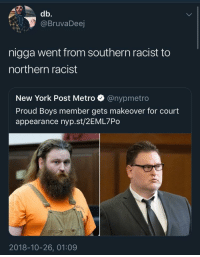 active vs passive racism: db.  @BruvaDeej  nigga went from southern racist to  northern racist  New York Post Metro @nypmetro  Proud Boys member gets makeover for court  appearance nyp.st/2EML7Po  2018-10-26, 01:09 active vs passive racism
