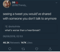 Blackpeopletwitter, Fuck You, and Fuck: DB  @DB2Trendy_  seeing a tweet you would've shared  with someone you don't talk to anymore  @orbofnite  what's worse than a heartbreak?  06/08/2018, 02:53  46.3K Retweets 147K Likes I miss you but fuck you (via /r/BlackPeopleTwitter)