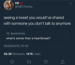 I miss you but fuck you by KingPZe MORE MEMES: DB  @DB2Trendy_  seeing a tweet you would've shared  with someone you don't talk to anymore  @orbofnite  what's worse than a heartbreak?  06/08/2018, 02:53  46.3K Retweets 147K Likes I miss you but fuck you by KingPZe MORE MEMES