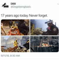 To the ones we lost, loved and the brave first responders, including the 4 legged ones. Never forget.: DBB  DBB @Dogsbeingbasic  DOGS BEING BASIC  1/ years ago today. Never forget  9/11/18, 8:30 AM To the ones we lost, loved and the brave first responders, including the 4 legged ones. Never forget.