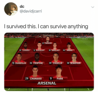 Arsenal, Memes, and Live: dc  @davidjcarri  I survived this. I can survive anything  ISPORTSD  LIVE  21 FABIANSKI  I5 CHAMBERLAIN 26 FRIMPONG 39.COQUELI 30.BENAYOUNT  29 CHAMAKH9 PARK  ARSENAL Arsenal fan 😂😂
