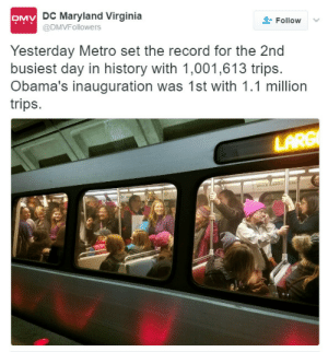 """America, Facts, and Obama: DC Maryland Virginia  @DMVFollowers  Follow  Yesterday Metro set the record for the 2nd  busiest day in history with 1,001,613 trips.  Obama's inauguration was 1st with 1.1 million  trips. aspiringdoctoruk:   king-jarrod:   basedinreality: Meanwhile, Trump's inauguration was literally the most watched program in American history at 31.1 million viewers The most watched program in American history at 115.2 million viewers was Super Bowl XLIX on February 1, 2015. And the only non-sporting event that made the top 20 of most watched broadcasts was at number 8 the M*A*S*H finale on February 28, 1983 with 105.9 million viewers. Trump's inauguration wasn't even the most viewed inauguration, that goes to President Reagan's first inauguration with nearly 42 million viewers, the second most watched inauguration goes to President Obama's first inauguration with 37 million viewers. So Trump's inauguration was very far from """"literally the most watched program in American history"""" as you put it.   But who needs facts in Trump America?"""