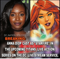 "Anna, Batman, and Memes: DC NATION UNIVERSE  BREAKING  ANNA DIOP CAST AS ""STARFIRE"" IN  THE UPCOMING TITANS (LIVE ACTION)  SERIES ON THE DC LIVE STREAM SERVICE. I'm okay with this actually! dc dccomics dceu dcu dcrebirth dcnation dcextendeduniverse batman superman manofsteel thedarkknight wonderwoman justiceleague cyborg aquaman martianmanhunter greenlantern theflash greenarrow suicidesquad thejoker harleyquinn comics injusticegodsamongus"