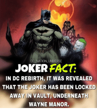 Well well whale. dc dccomics dceu dcu dcrebirth dcnation dcextendeduniverse batman superman manofsteel thedarkknight wonderwoman justiceleague cyborg aquaman martianmanhunter greenlantern theflash greenarrow suicidesquad thejoker harleyquinn comics injusticegodsamongus: DC NATION UNIVERSE  JOKER FAC  IN DC REBIRTH, IT WAS REVEALED  THAT THE JOKER HAS BEEN LOCKED  AWAY IN VAULT, UNDERNEAT  WAYNE MANOR. Well well whale. dc dccomics dceu dcu dcrebirth dcnation dcextendeduniverse batman superman manofsteel thedarkknight wonderwoman justiceleague cyborg aquaman martianmanhunter greenlantern theflash greenarrow suicidesquad thejoker harleyquinn comics injusticegodsamongus