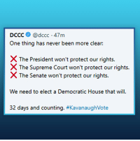 One thing has never been more clear:   Neither the President nor the Supreme Court nor the Senate will protect our rights. We need to elect a Democratic House that will.: DCCC@dccc 47m  One thing has never been more clear:  X The President won't protect our rights.  The Supreme Court won't protect our rights.  X The Senate won't protect our rights.  We need to elect a Democratic House that will  32 days and counting. #Kava naughVote One thing has never been more clear:   Neither the President nor the Supreme Court nor the Senate will protect our rights. We need to elect a Democratic House that will.