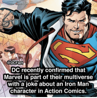 do you want this to be canon or should they be separate? superman krypton justiceleague dc superman dceu redskull batman wonderwoman thedarkknight: @DCFact  DC recently confirmed that  Marvel is part of their multiverse  with a ioke about an Iron Man  character in Action Comics. do you want this to be canon or should they be separate? superman krypton justiceleague dc superman dceu redskull batman wonderwoman thedarkknight